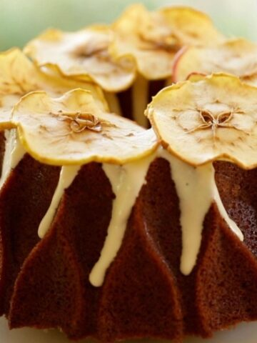 Apple Spice Cake with Apple decorations on Top