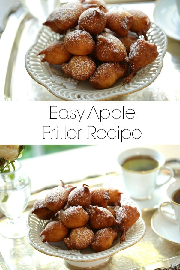Easy Apple Fritter Recipe served with coffee on a silver tray