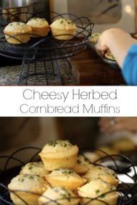 Placing Cheesy Herbed Cornbread Muffins in black cake stand basket