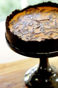 Veritcle Image of a Chocolate Pumpkin Cheesecake