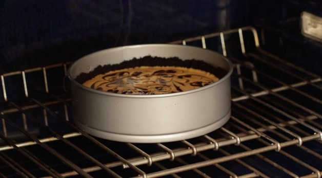 Cheesecake inside oven