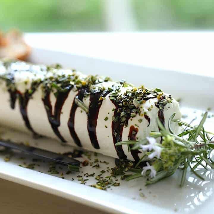 goat cheese log with balsamic syrup and rosemary