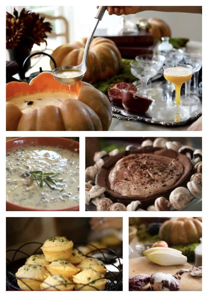 Collage of recipes from Halloween Themed Dinner Menu for Adults