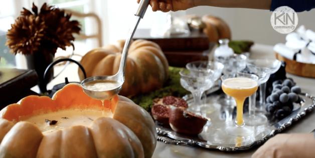 Serving a Pumpkin Punch Recipe from a Cinderella Pumpkin