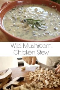 Wild Mushroom Chicken Stew in a bowl with mushrooms being chopped