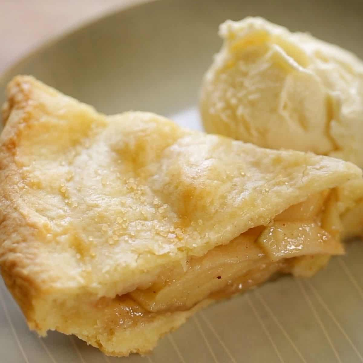 Slice of Apple Pie with a scoop of Ice Cream