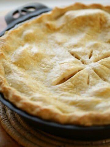 Apple Pie in a cast Iron Pie Plate