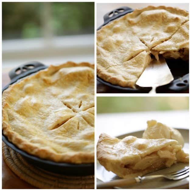 Collage of photos of an apple pie recipe