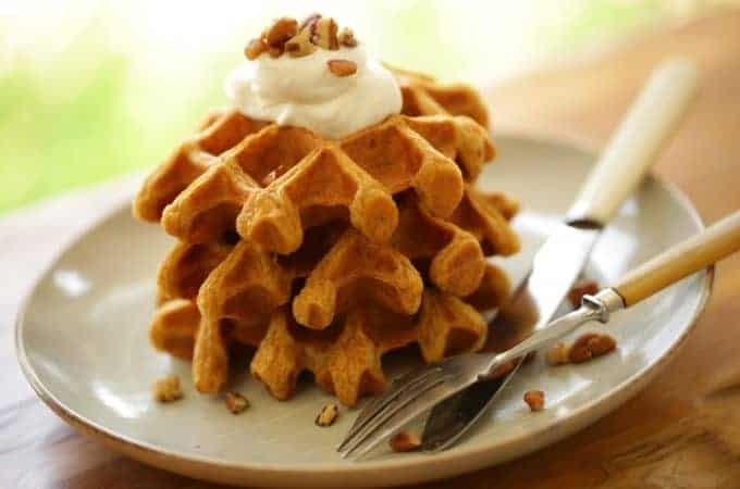 Pumpkin Spice Waffle Recipe stacked 3 on a plate