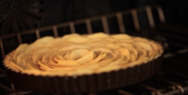French Apple Tart in Oven Baking