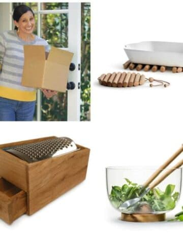 A collage of products and Beth Le Manach of Entertaining with Beth