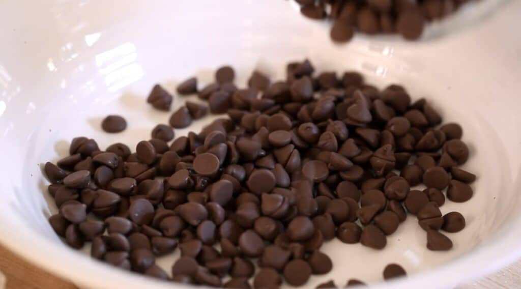 a bowl of chocolate chips