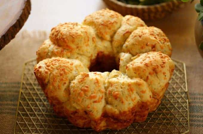 Savory Monkey Bread From Scratch cooling on cooling rack