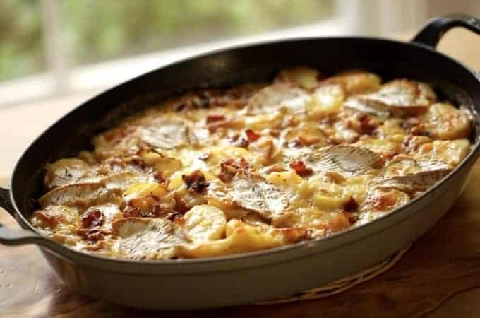 Easy Tartiflete Recipe in an oval Staub Gratin Pan