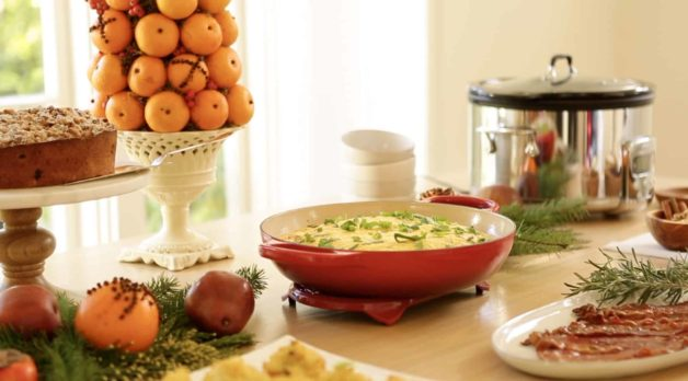 Le Creuset Braiser filled with an egg bake casserole. One of 15 Gifts for Foodies