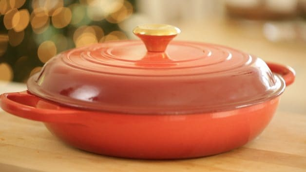 Le Creuset Braiser used for a Coq Au Vin Recipe