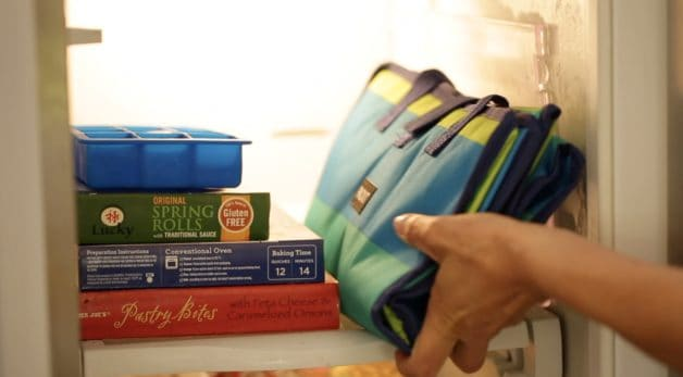 Placing a pack it freezer tote in the freezer. One of 15 gifts for foodies