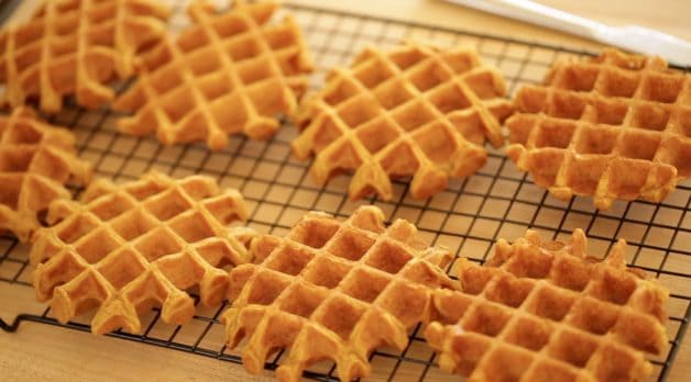 Pumpkin Waffles made with an All Clad Waffle Iron. One of 15 gifts for foodies