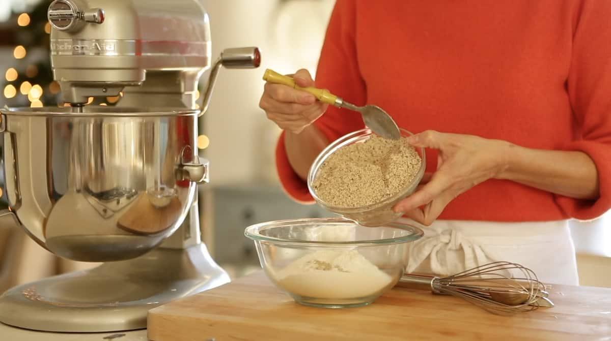adding hazelnut meal into all purpose flour