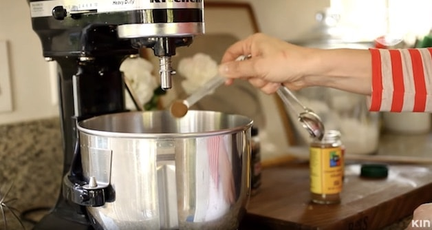 Adding spices to a kitchen aid mixer