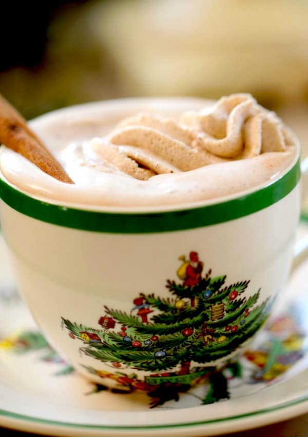 Close up of GIngerbread Whippped Cream in a Christmas Cup