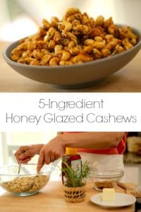 Honey Glazed cashew in a gray bowl and being made
