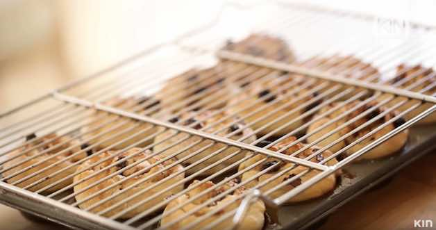 cooling rack placed on sticky buns