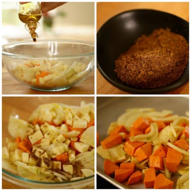 Collage of Vegetarian Pot Pie Prep
