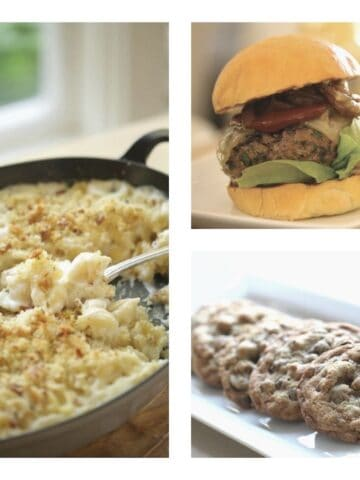 a Collage of game Day Recipes showing Mac and CHeese, an Ultimate Burger and Chocolate Chip Cookies
