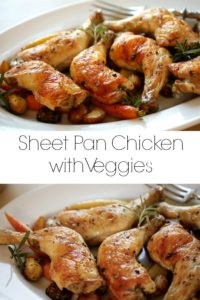 collage of sheet pan chicken with veggies