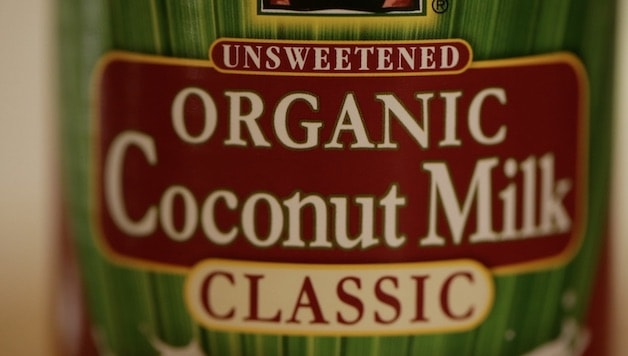 Tight Shot of a can of coconut milk labeled classic coconut milk