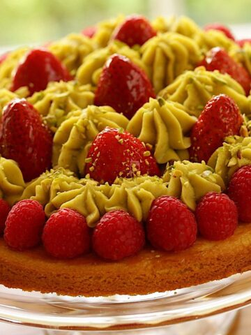 Pistachio Strawberry Tart on Cake STand