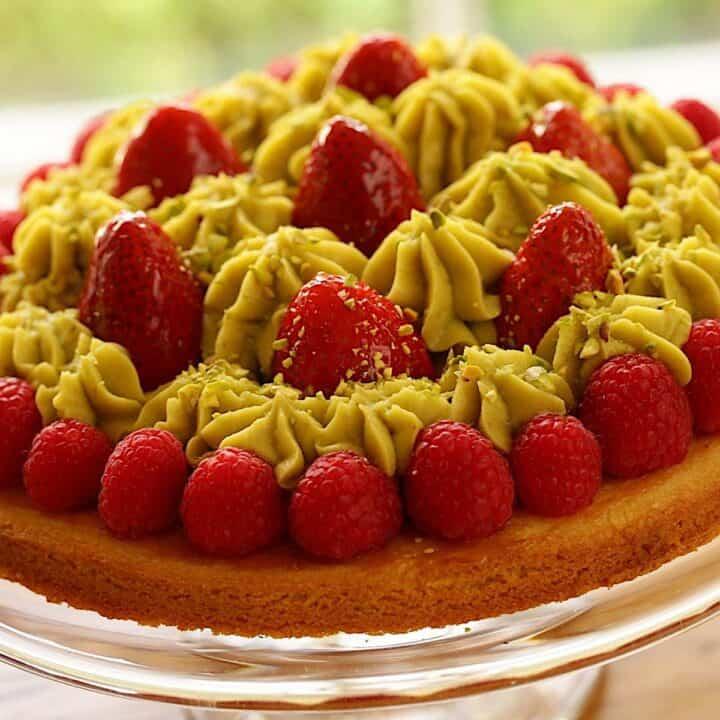 Pistachio Strawberry Tart on Cake STand