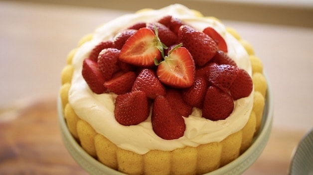 Strawberries piled high on whipped cream on a sponge cake base