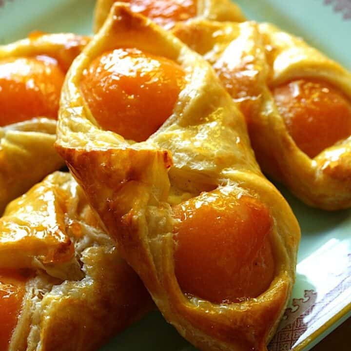 Apricot Pastries on a blue platter