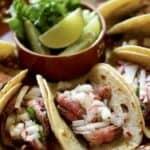 Tight Shot of Folded Carne Asada Tacos