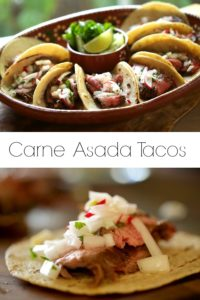 Carne Asada Tacos on a Mexican Platter