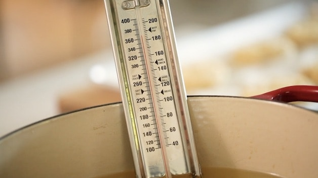 Candy Thermometer in a pot of oil