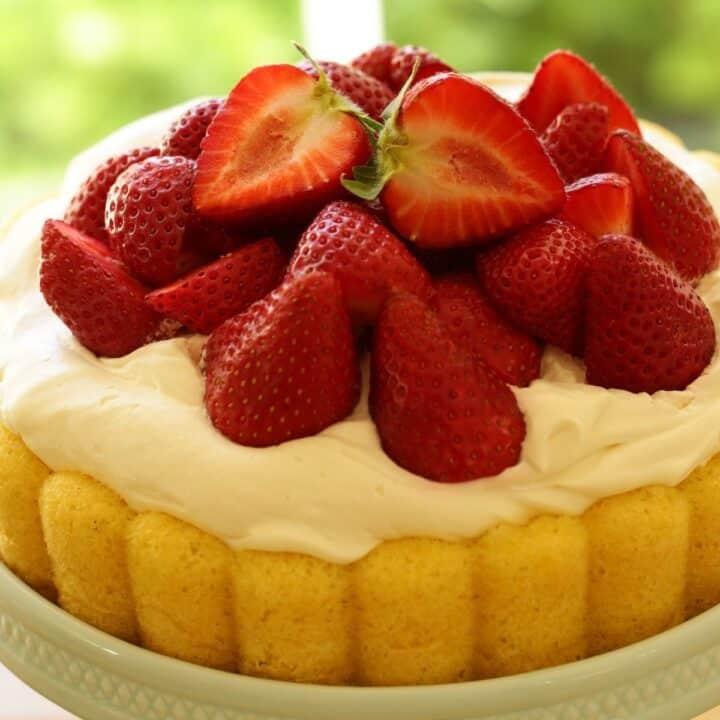 Strawberry Shortcake on a Blue Cake Stand