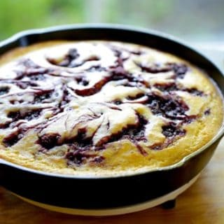 Blackberry Cornbread Skillet cake in pan