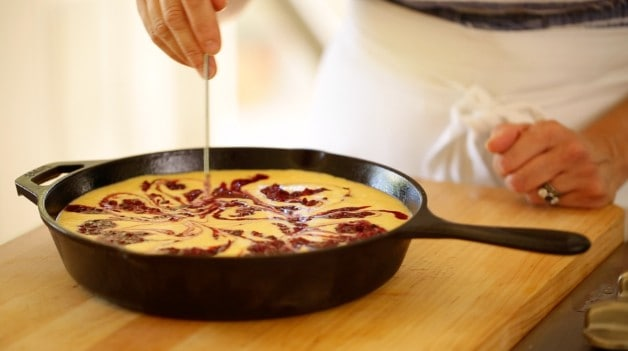 Swirling blackberry reduction into cornbread batter