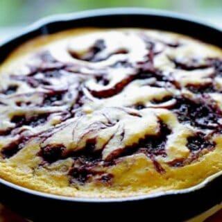 Blackberry Cornbread Skillet cake in pan