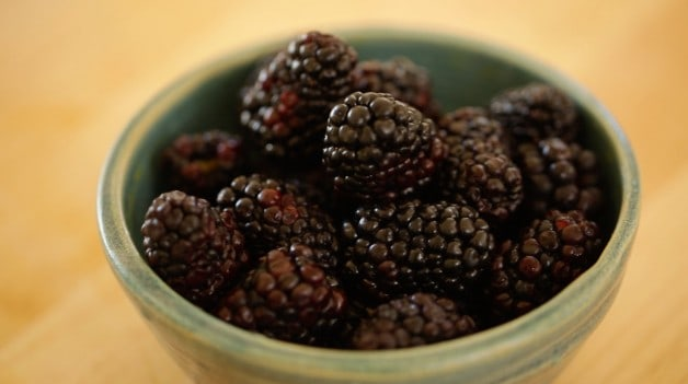 Green bowl of blackberries