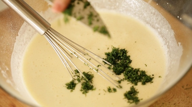 Adding minced Dill to crepe batter