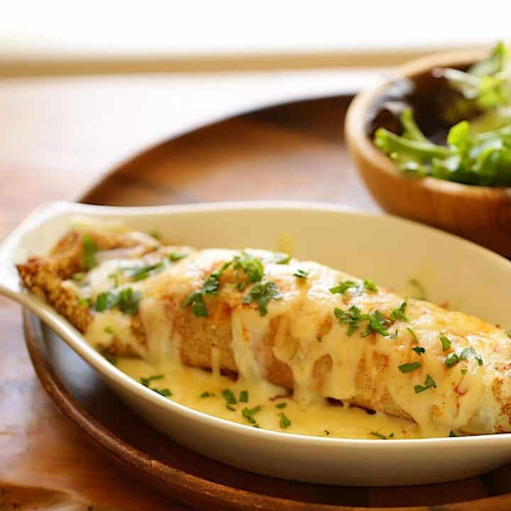 Chicken and Mushroom Crepe in a gratin dish with a side salad