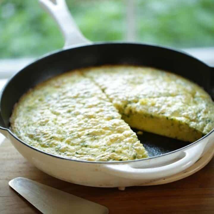 Egg Bake Casserole in a white Skillet