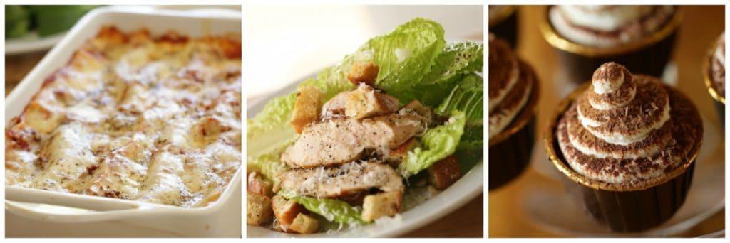 Collage of a menu with Lasagan, Caesar salad and Tiramisu Cupcakes