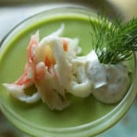 Savory Panna Cotta with Sweet Pea, King Crab and Lemon Dill Cream