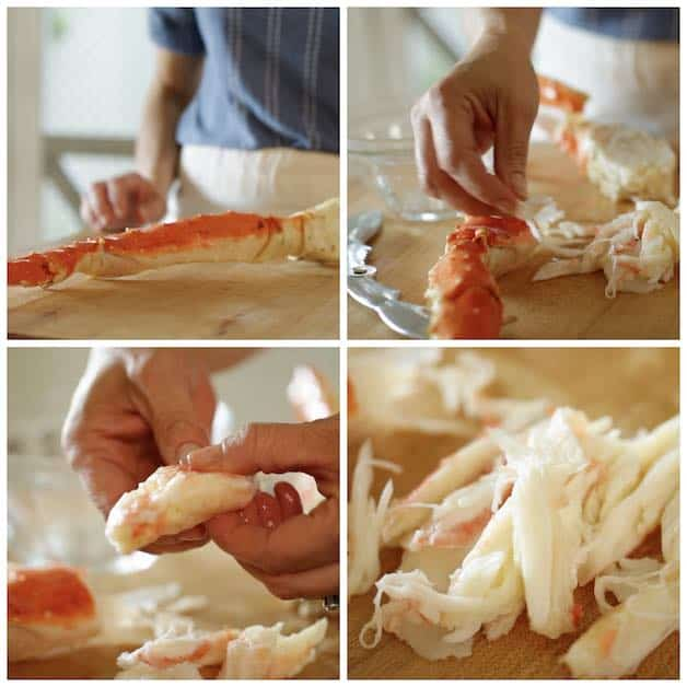 a collage of images showing King Crab leg being cracked and picked of its meat
