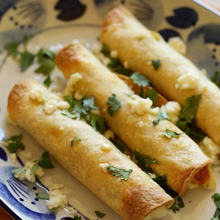 Taquitos on a Blue and White Plate with Cilantro and Cheese